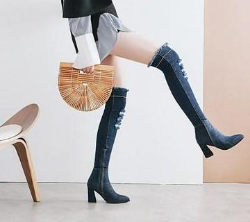 New Arrival Hot Sale Specials Super Fashion Sexy Plus Velvet Denim Pointed Stovepipe Stretch Tidal Knight Girls Overknee Boots EU34-43