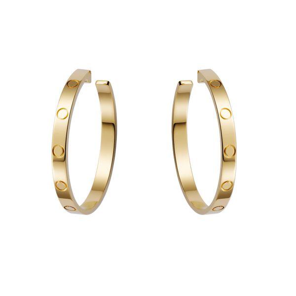 Exquisite Gold Exaggerated Big Screw Hoop Earrings For Women Girls Stainless Steel Hoop Earrings Stones Brincos Luxury Design J190721