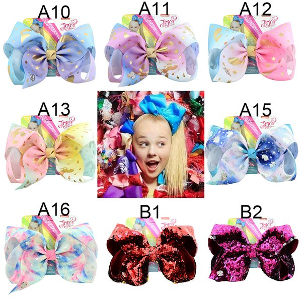 top popular JOJO SIWA 135 styles LARGE Rainbow Unicorn Signature HAIR BOW with card and sequin logo baby girl Children Hair Accessories hair clip 2019