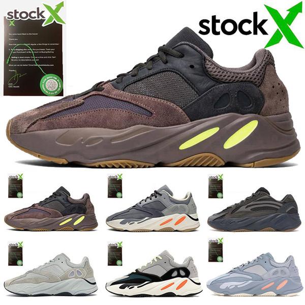adidas 700 V2 Con Aumenta Box Kanye West corridore dell'onda 700 V2 Statico inerzia Malva Solid Grey Run scarpe casual scarpe da uomo Scarpe da tennis delle donne Mens MMK29