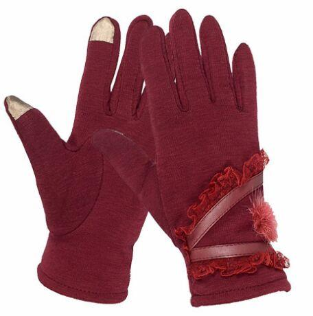Guanti Donna Touch Screen Warm Knitting Fur Flower Gloves Five Fingers Female Mittens Sport Glove