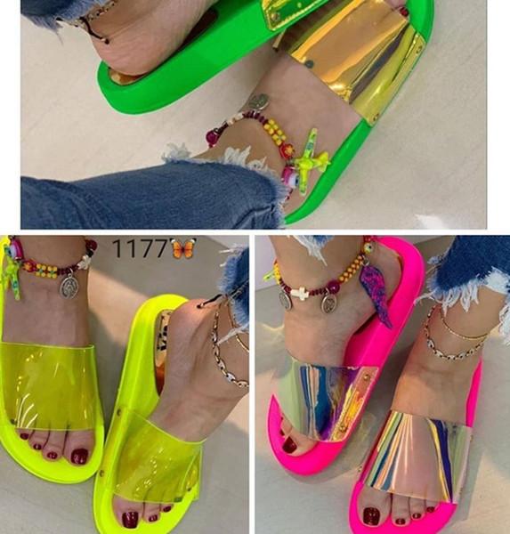 newmart365 / Láser transparente Zapatillas de Mujer Zapatillas de PVC de Verano de Jalea Remaches Coloridos Moda Exterior Zapatillas de Mujer Zapatos Mujer