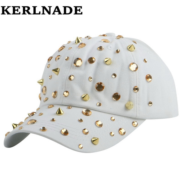 Hot sale rhinestone spike studs hip hop snapback chapéus para mulheres mulher nova marca feminino esportes boné de beisebol ao ar livre menina gorras # 319677