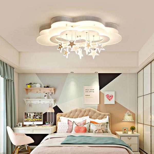 Luz de techo del dormitorio Princesa dormitorio lámpara estilo nórdico, iluminación de la nube de la habitación estilo estrella LED cuatro colores envío de la gota