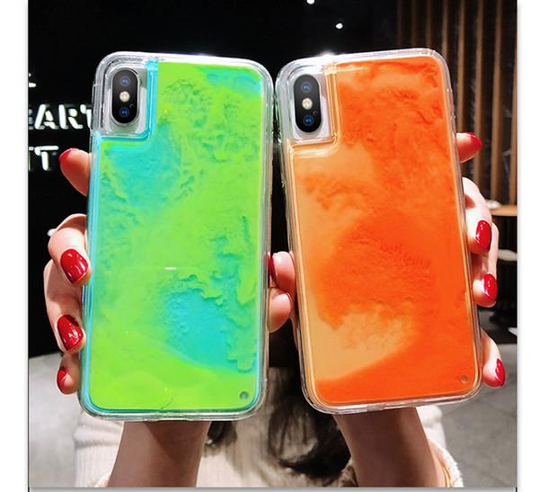 Glow in the dark glitter flowing beach and ca e for iphone x max x xr x 6 6 8 7 plu 6 6 luminou capa funda coque