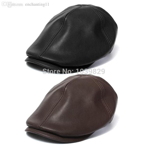 Atacado-Venda quente de alta qualidade Couro lvy Cavalheiro Homens Cap Bonnet Newsboy Beret Cabbie Gatsby Flat Golf Hat Brown Black Color
