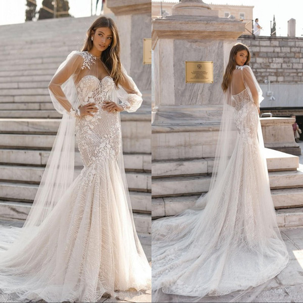 Sequins Mermaid Wedding Dresses with Cape Sweetheart Neck Lace Appliques Sweep Train Bridal Gowns Beach robe de marie