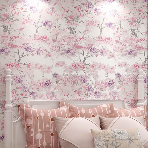 Korean Printed Pink Cherry Wallpaper Clothing Store Bedroom Wall Paper Roll Japanese Floral Garden Wallpaper For Wedding House Download Free Wallpaper