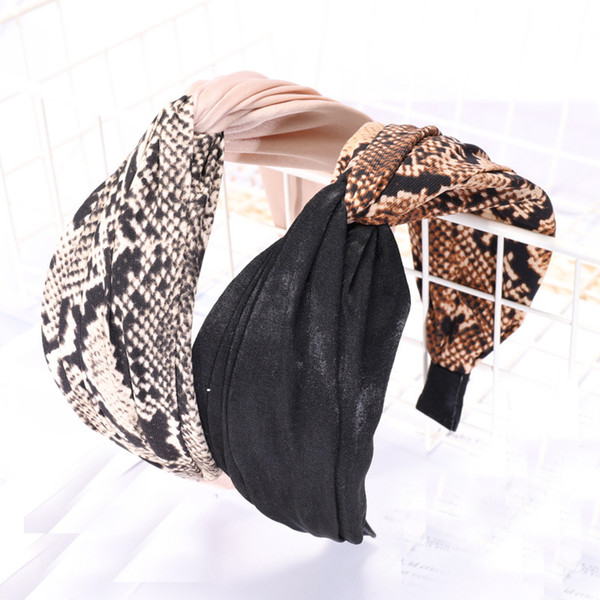 Vintage bohemio leopardo satinado nudo cruz patrón Hairband nudo diadema accesorios para el cabello personalizados Headwear