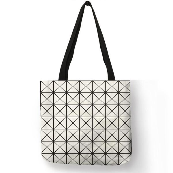 Cor Sólida Geométrica Impressão Tote Grocery Bags Prático Grande Capacidade Mulheres Bolsa de Senhora Escola de Trabalho Ombro Saco Ocasional Bolsa