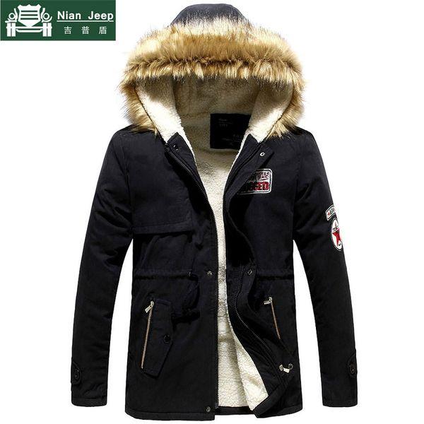 Parka hommes vente chaude d'hiver Veste Homme épais mince fourrure à capuchon Outwear Manteau chaud Casual Marque solide Outwear Vêtements Plus Size