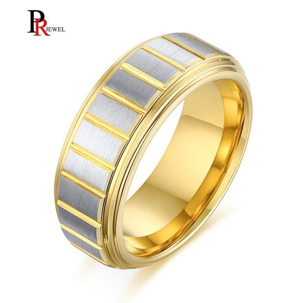 Punk Gold and Silver Tone Tungsten Carbide Wedding Bands Rings for Men Male with Lines Style