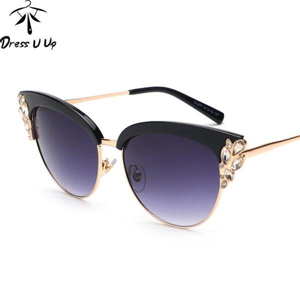 b4385f20c New cat eye óculos de sol das mulheres designer de marca de cristal da flor  do