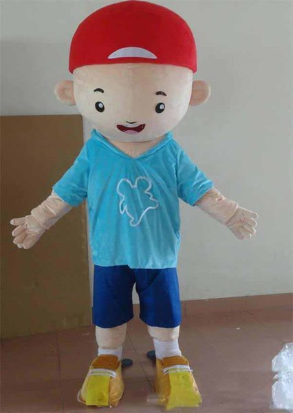 2019 Discount factory sale Good vision and good Ventilation a little boy mascot costume with red hat for adult to wear