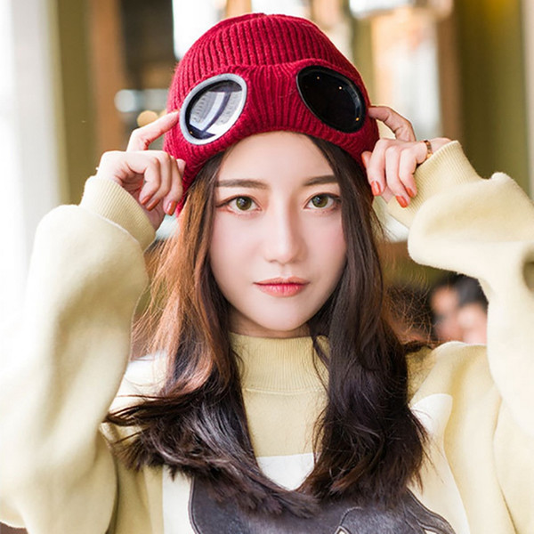 Men's and Women's Knitted Hats Windproof Goggles and Velvet Ski Hats Warm Wool Unisex Heat Warmer Ear Cold Snow Protector Sports Cap