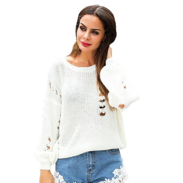 Hole Knitting Shirts Female Classic Sweater Pearl Hollowing Out Perspective Lazy Wind Women's Wear
