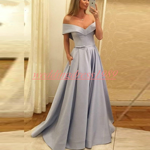 Modern Satin 2019 Abiti Da Sera Ball Off Spalla Capped Arabo Celebrity Pageant Abiti Africani Plus Size Party Prom Dress Lungo Formale