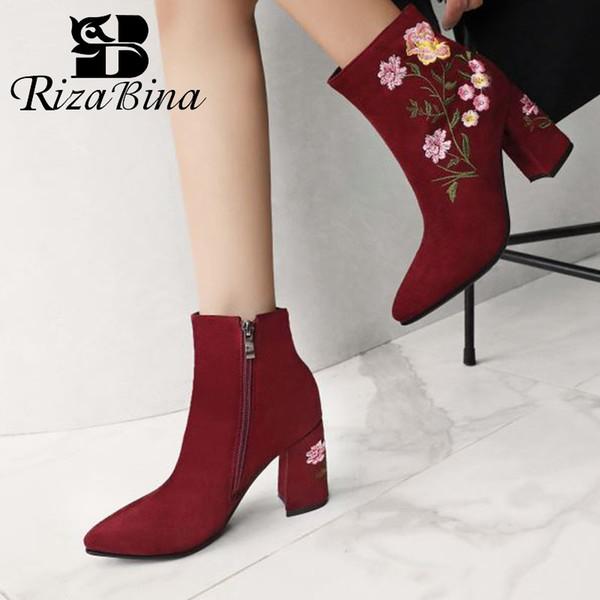 RIZABINA New Stickerei Frauen Ankle Boots Spitzschuh-Absatz-Schuhe Herbst-Winter-Büro-Dame-Zipper Schuhe Größe 33-43