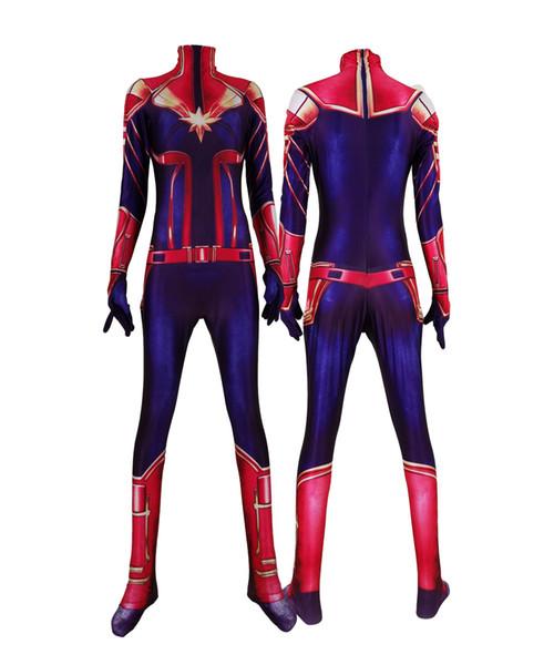 Movie Ms Captain Marvel Female Superhero Jumpsuit Custom Made Captain Marvel Cosplay Halloween Costumes for Women Spandex Bodysuit