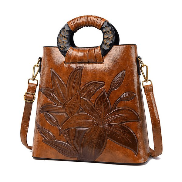 Bir ana bolso mujer kesesi kadın omuz çantası moda için yüksek kaliteli deri bayan çantası Çin tarzı büyük çiçek crossbody çantalar