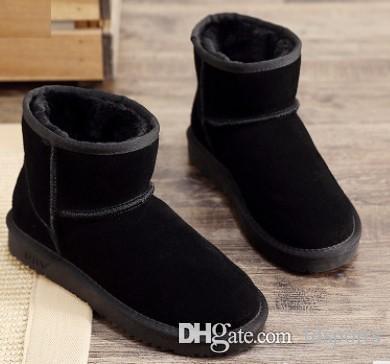 Çift modelleri stil bayanlar erkek kar botları su geçirmez kış inek derisi süet deri açık botlar marka IVG tasarımcı ayakkab ...