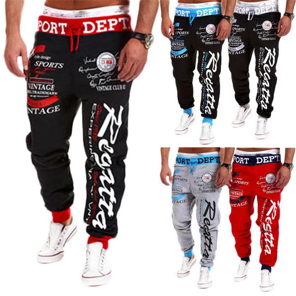 Hombres de moda Pantalones cruzados de hip hop Pantalones cruzados con estampado de garabatos de primavera Pantalones largos Hombres Aptos Baile suelto Entrenamiento Joggers Pantalones deportivos