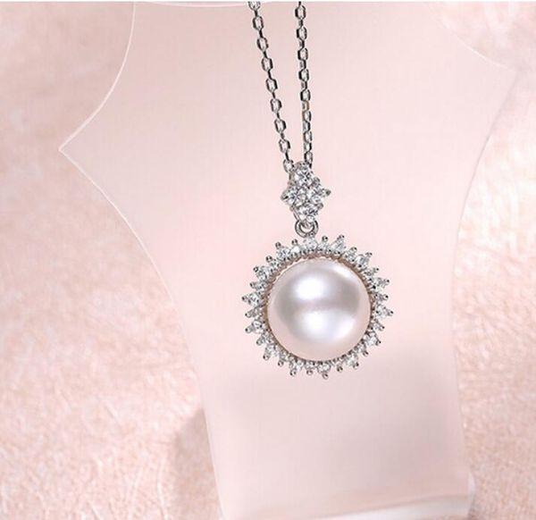 LIVRAISON GRATUITE + pendentif coeur 10-10.5mm grand pendentif blanc brillant en perle d'eau douce