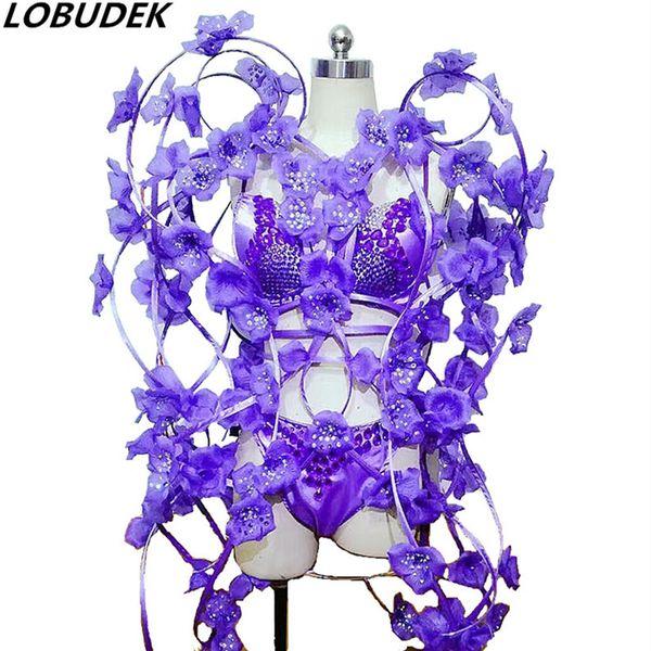 Cristalli viola bikini Petalo abito femminile festa Sfilata di moda della fase Outfit Nightclub DJ Singer performance Costume Danza Abbigliamento