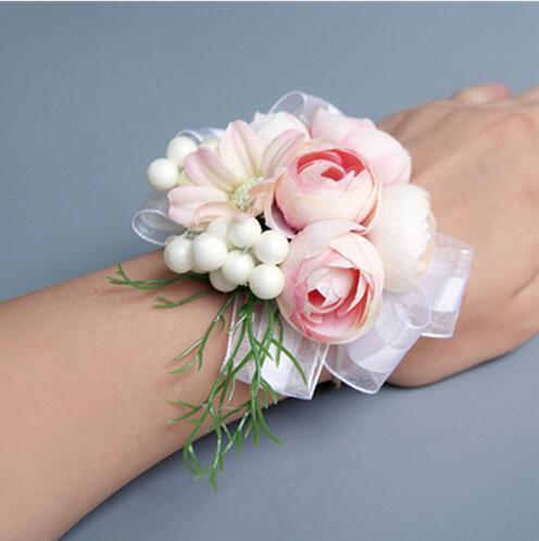 Muñeca multicolor flor prom para dama de honor de la mano de seda rosa flor traje de boda Boutonnieres broche accesorios decoración GB293