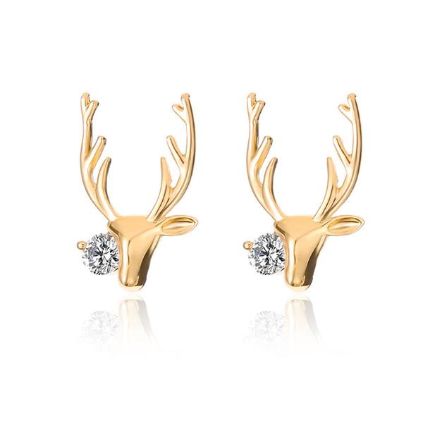 Cerf Antlers Alliage Boucles D'oreilles Femmes Boucles D'Ore Or Blanc K Couleurs Elk Point Oreille Anneaux Bijoux De Mode