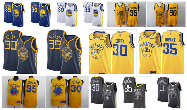 quality design 300ca 08a9c 2019 Golden State 2019 Warriors Jersey 30 Steph Stephen Curry 35 Kevin  Durant 11 Klay Thompson The City Edition Stitched Cheap Baketball Jerseys  From ...