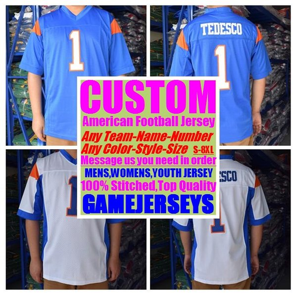 top popular Custom college american football jerseys mens womens youth kids soccer rugby stitched authentic jersey 4xl 5xl 6xl 7xl 8xl athletic Apparel 2019