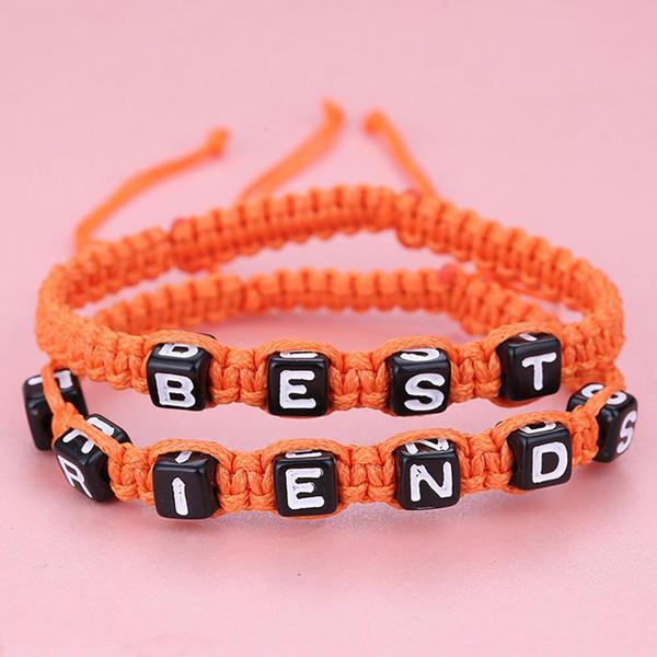 2 pezzi / set unisex BEST FRIEND Letter Charm fatto a mano tessuto braccialetto di amicizia