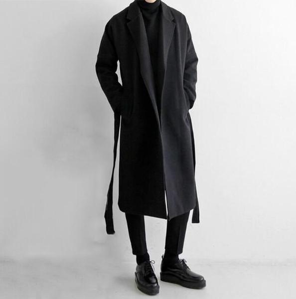 Мужская осенняя и зимняя ветровка мужское длинное шерстяное пальто с трендом Корейская версия шерстяного пальто с открытыми плечами