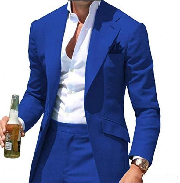 Новый красивый Royal Blue Groom Tuxedos Нотч Groomsmen Свадебные смокинги Мода Мужчины Формальная Пром Куртка Blazer Костюм (куртка + брюки) +819