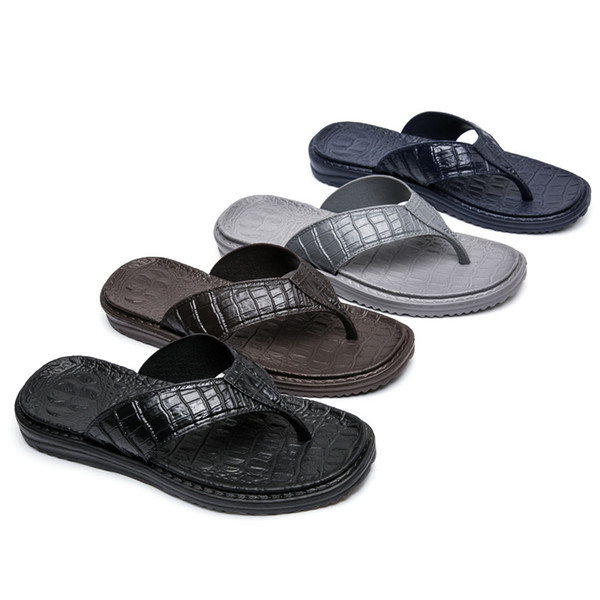 a1d1812cba409 cheap men sandals leather Coupons - Cheap NEW Summer Flip Flops Crocodile  PU Design Men Slippers