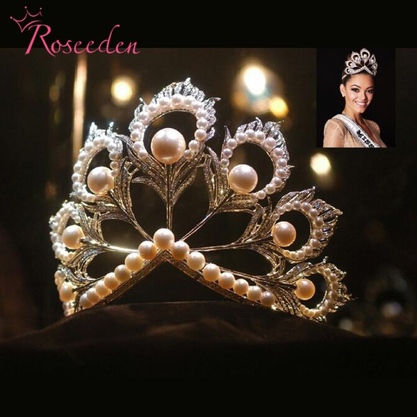 2017 Miss Universe Tiaras and Crowns Giant Big Pageant Rhinestones Pearls miss world Crown RE484 C18112001