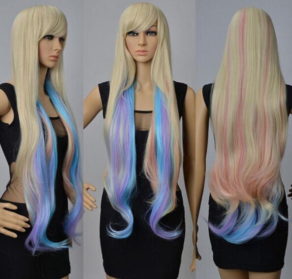 LIVRAISON GRATUITE ++ 90 cm Long Femmes Wavy Multi-ColorsHair Costume Perruque Cosplay Partie Perruques Complètes