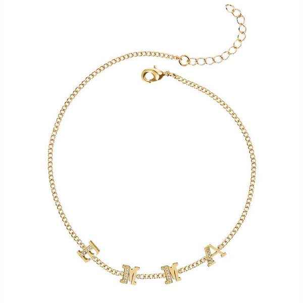METOO New Spring Chock Crystal Letter Necklace Gold Chain Custom Name Personalized Women Simple Dainty Necklaces Gift for Girl