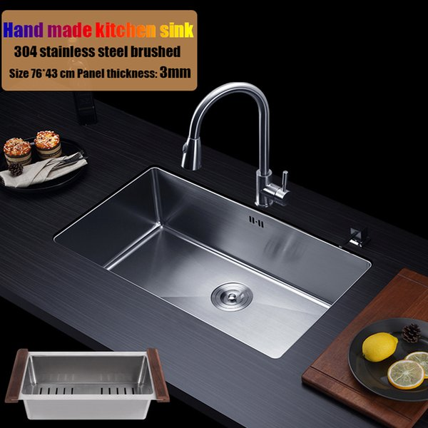 best selling 76*43cm 304 stainless steel kitchen sink hand made single bowl water tank large size brushed thick 3mm+1.2mm with faucet choose