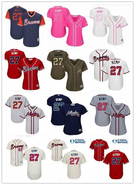 official photos 5d2ec 9dfba 2018 2018 Top Atlanta Braves Jerseys # 27 Matt Kemp Jerseys  Men#WOMEN#YOUTH#Men'S Baseball Jersey Majestic Stitched Professional  Sportswear From ...