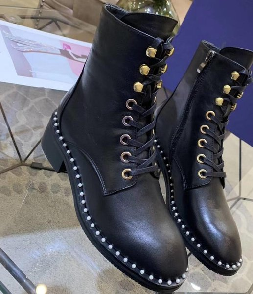2019 2020 spring fall Womens black real leather luxury Charm Pearly Trim lace up and side zip up short combat Booties ankle boots
