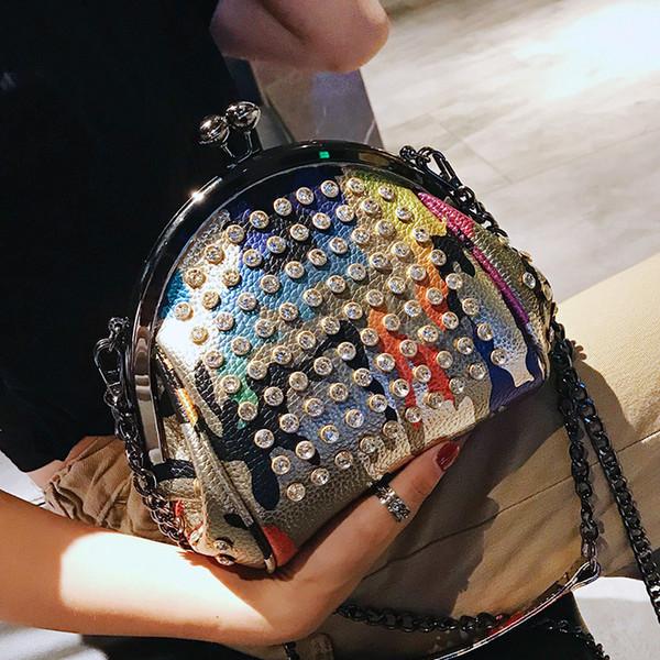 2019 Marque Mode féminine Sac Pu diamants en cuir Sac à bandoulière chaîne Shell Messenger Sac fourre-tout Femme Crossbody pour les filles 328MX190824