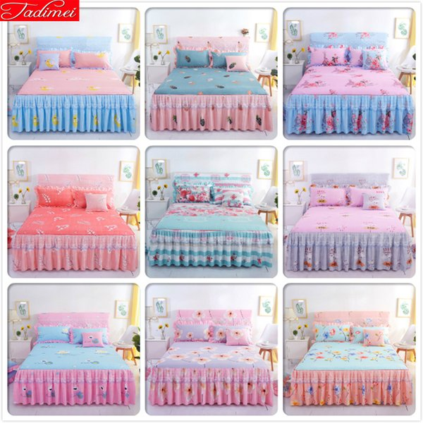 Pink Blue Bed Sheet + 2 case Kids Girl Bedspreads Single Twin Double Queen King Size Bedskirt Double Lace Princess 150x200