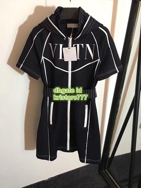 Femmes chemise jogging jersey robe avec lettre à capuche la robe de qualité supérieure Casual marque chemise mini femme Outwear robe 2019