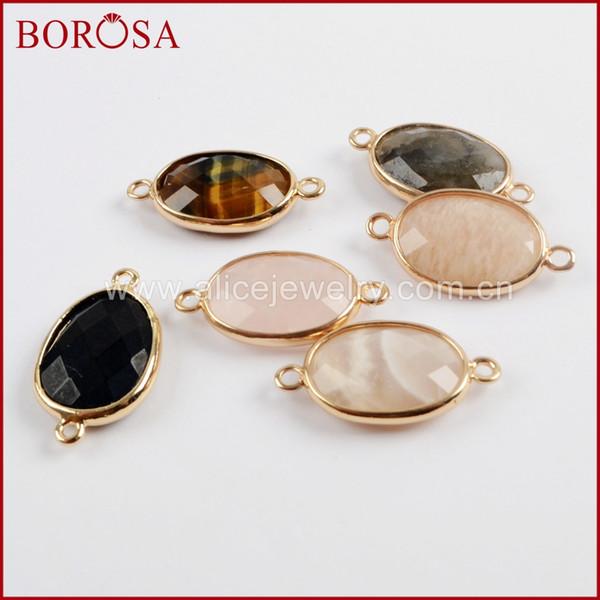 BOROSA 20PCS Oval Natural Multi-kind Faceted Gem Stone Connectors Pink Quartz Druzy Double Charms Jewelry for Bracelet WX1028