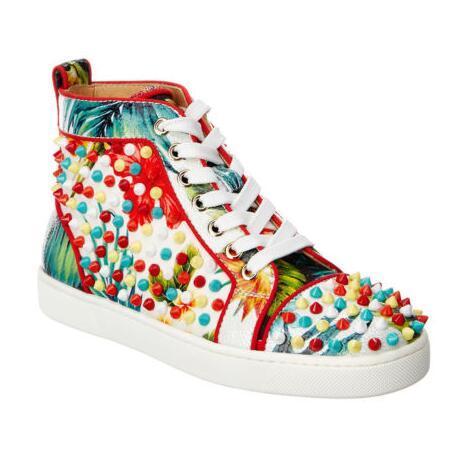Designer de Luxo França Jovem Júnior Skate Shoes Flower Geunine couro de fundo Red Shoes Orlato couro cravado Sneaker