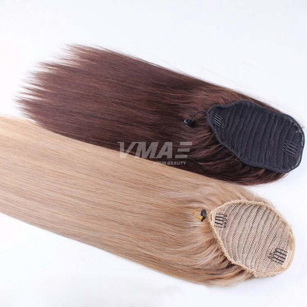 Straight human Ponytail hair Natural Non Remy Hair horsetail tight hole Clip In Drawstring Ponytails Hair Extensions