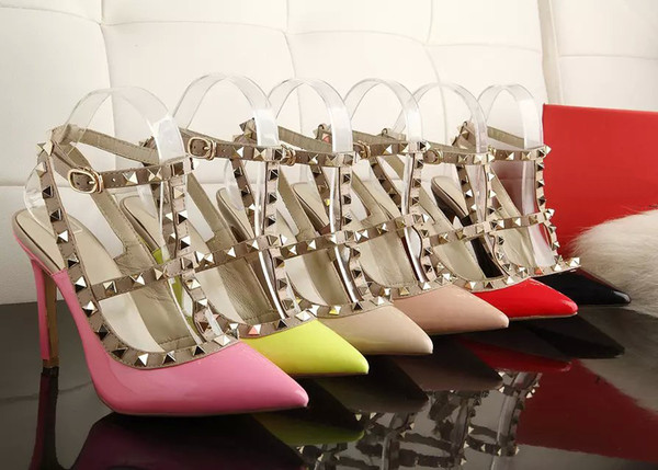 Sandálias de verão quente estilo Europeu senhoras de luxo de salto alto moda 2 cintos com pregos de metal sapatos femininos bonitos com caixa