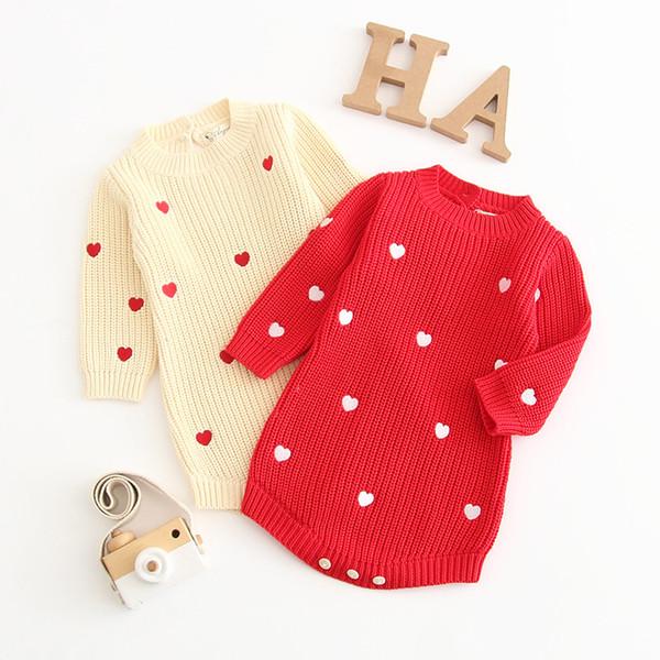 Bebek Kız Pamuk Örme Romper Uzun Kollu Yuvarlak Boyun Tatlı Aşk Baskılı Yün Kazak Çocuklar Tasarımcı Kazak Bebek Yumuşak Kıyafetler 0-3 T